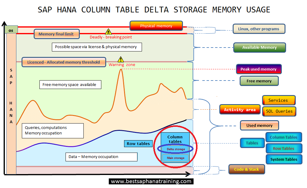 Sap hana column table delta storage used memory