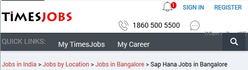 sap hana timesjobs