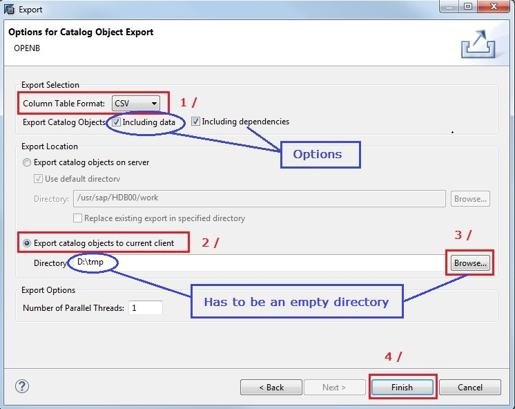 get sap hana table ddl via studio export step 2