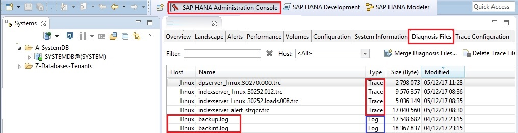 hana studio log and trace files