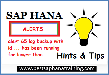 sap hana alerts 65 log backup id ..