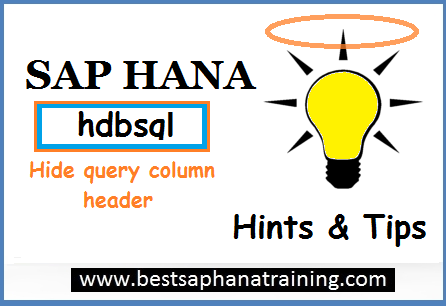 hide sap hana hdbsql query column header