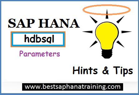 Sap hana hdbsql parameters details