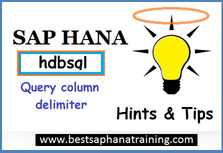 Sap hana hdbsql query column delimiter