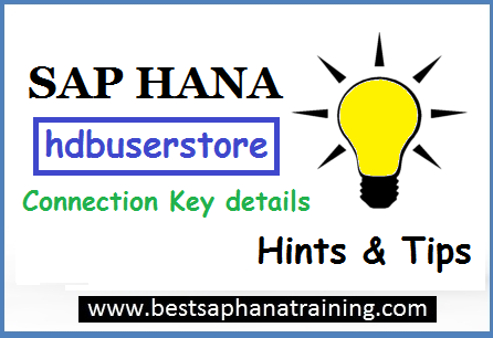 Sap hana user store key details