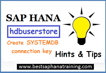 create sap hana SYSTEMDB user store secure key