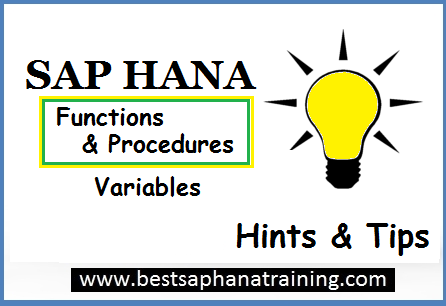 sap hana functions and procedures variables