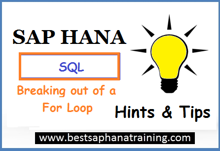 breaking out of sap hana for loop
