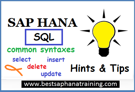 sap hana sql command syntaxes