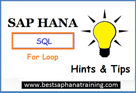 sap hana sql for loop