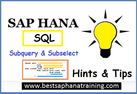 Using sap hana subselect