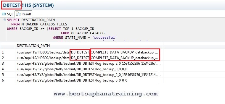 check last successfull hana tenant database backup