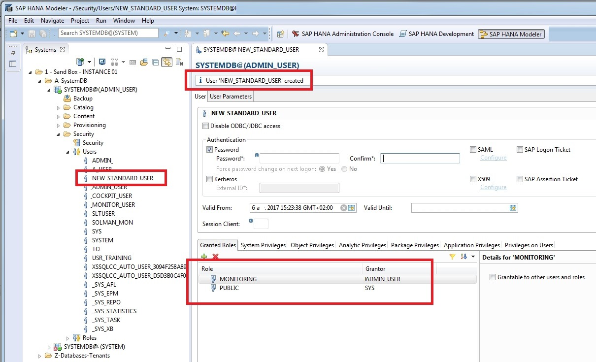 sap hana studio user details