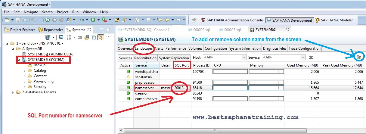 sap hana studio nameserver, systemdb port number