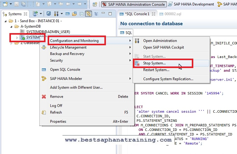 How to start or stop a sap hana system environment?