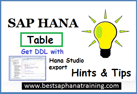 table ddl with hana studio export