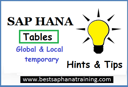 temporary sap hana tables
