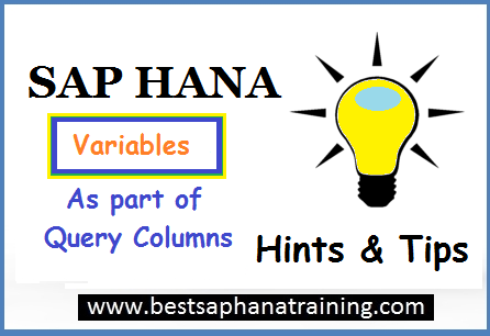 sap hana variables as part of query columns