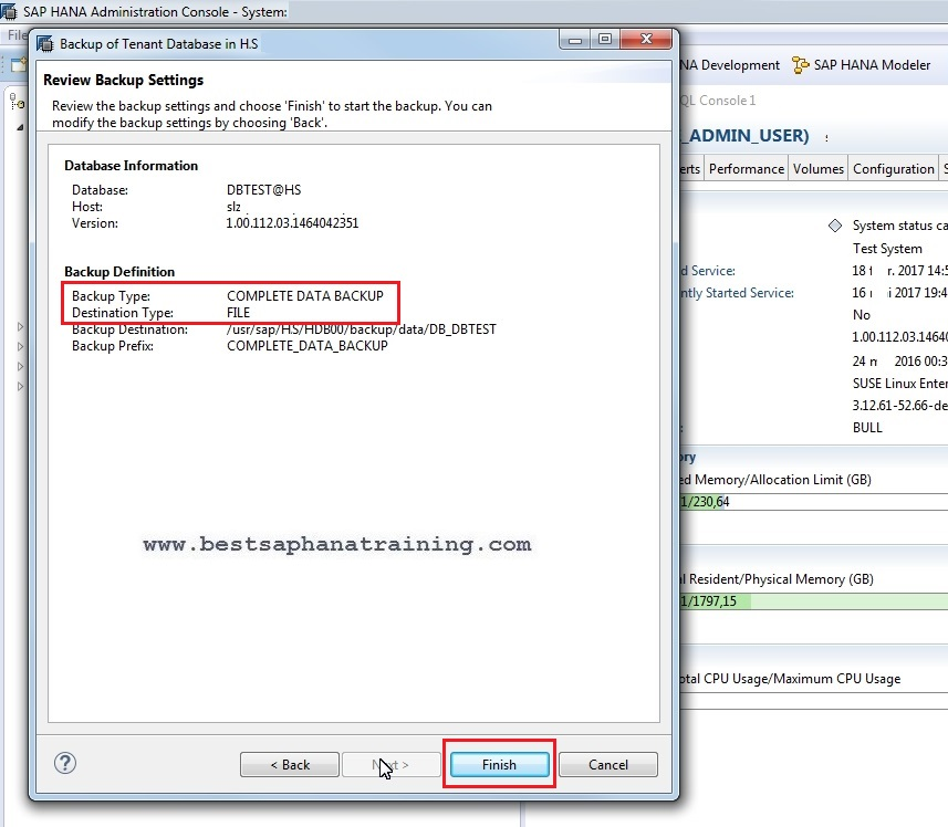 hana backup tenant database criteria